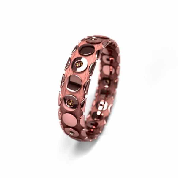 Alliance femme or rose et pierres 5mm graphique 1.5