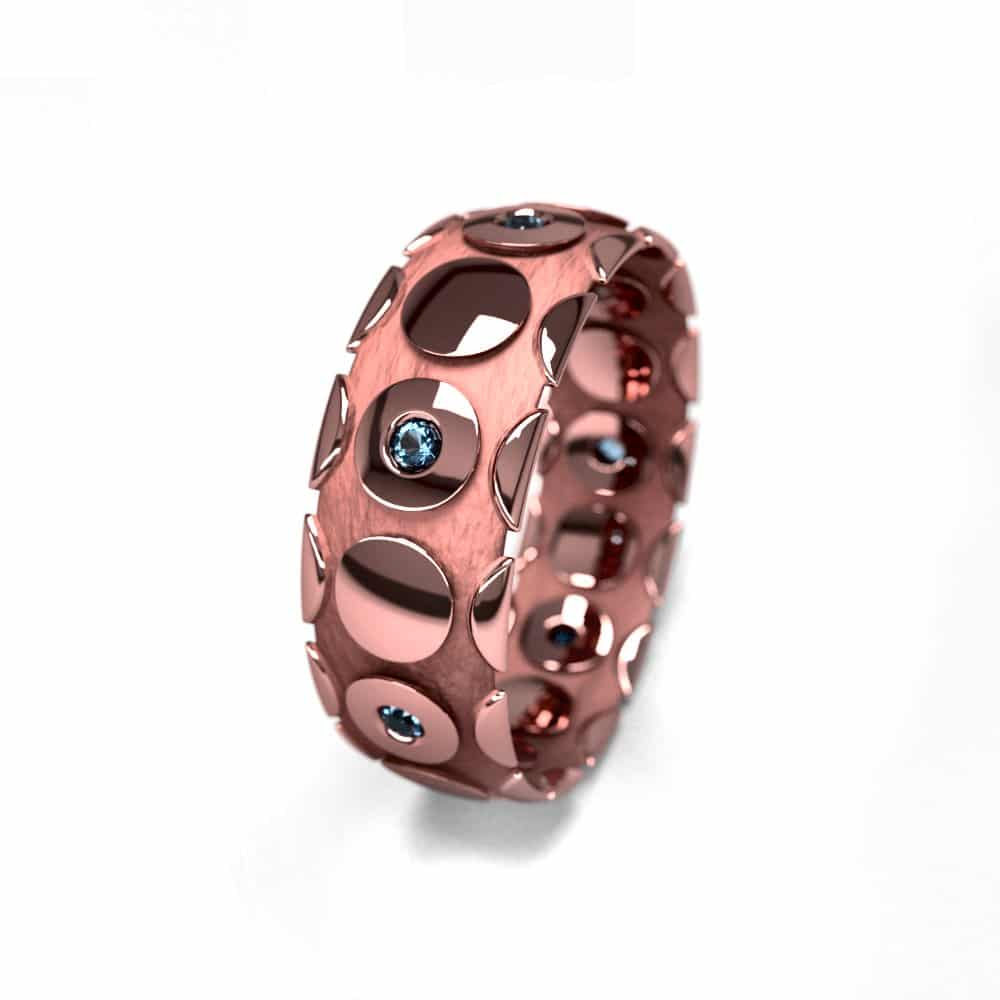 Alliance femme or rose et pierres 7mm graphique 1.7