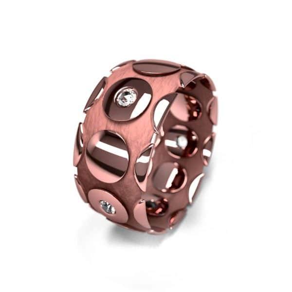 Alliance femme or rose et pierres 9mm graphique 1.9