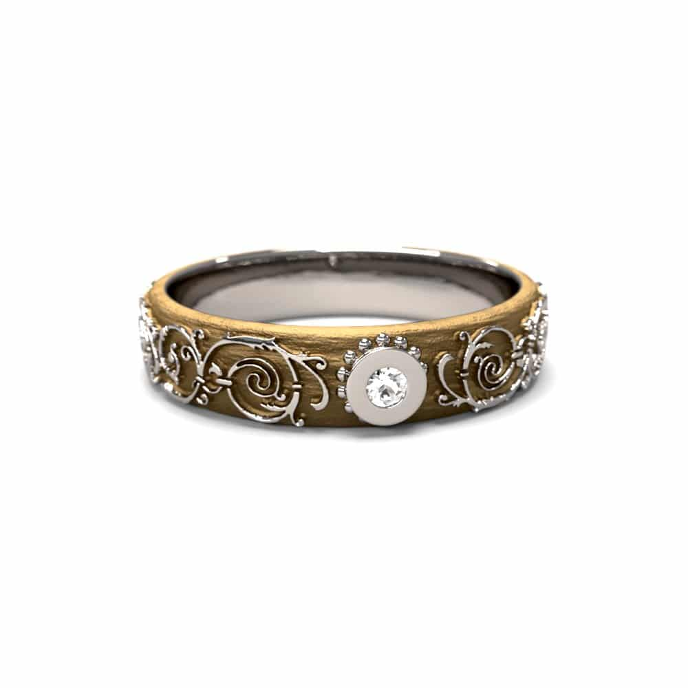 Alliance fine baroque femme or blanc et or jaune et pierre