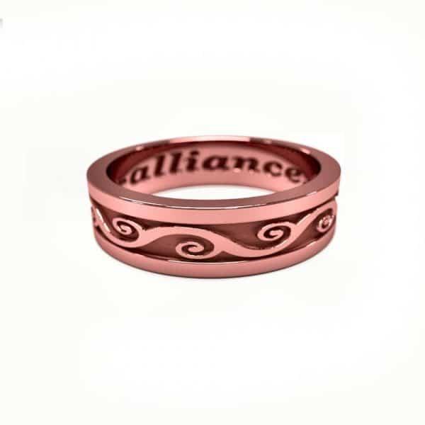 Alliance mixte or rose frise arabesques
