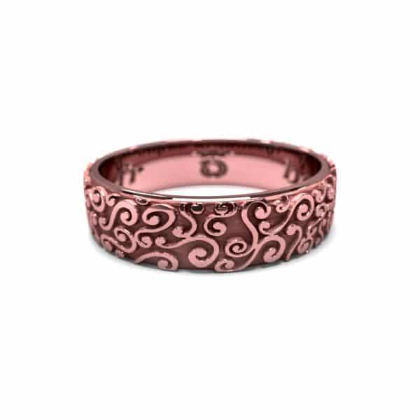 Alliance mixte or rose texture avec volutes