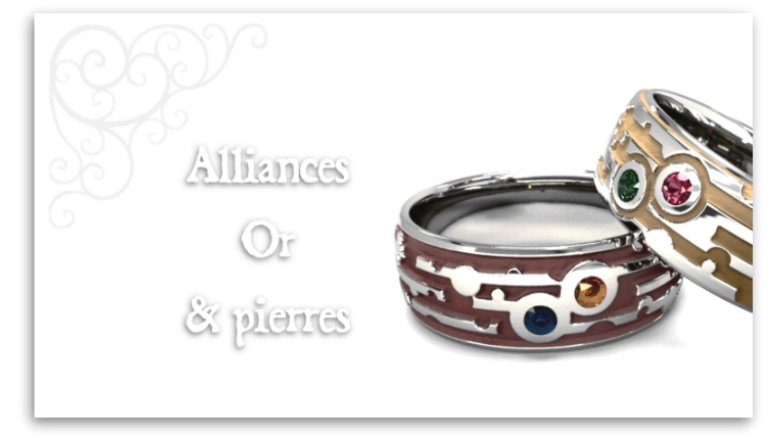 Alliances or et pierres mariage