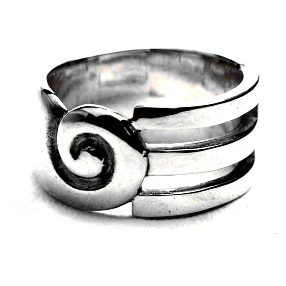 Anneau mixte spirale argent