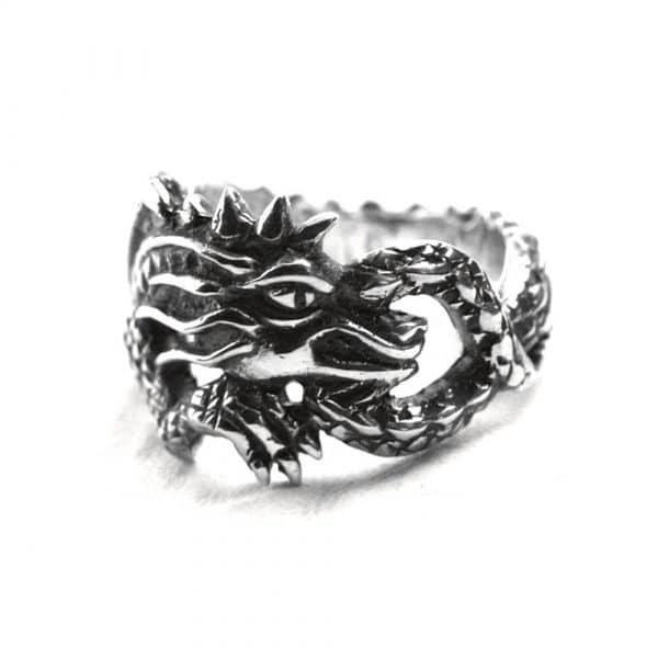 Bague anneau dragon enroulé argent