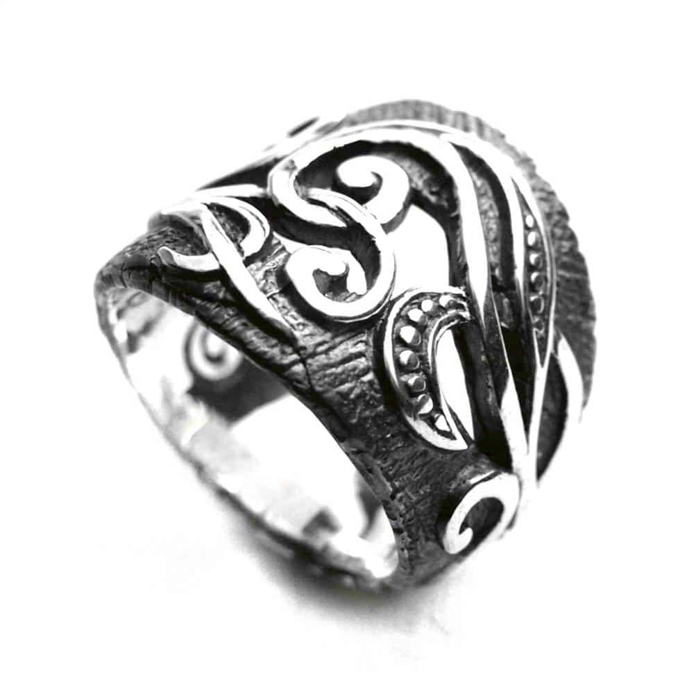 Bague anneau large homme argent brut noir arabesques