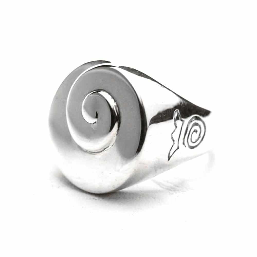 Bague chevalière femme spirale ronde argent
