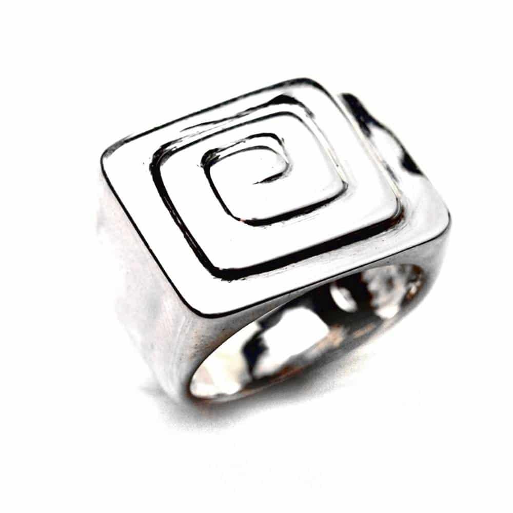 Bague chevalière mixte spirale carrée argent