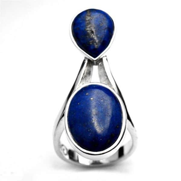 Bague créateur fine pour femme argent et lapis-lazuli