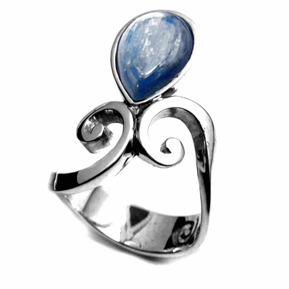 Bague élégante volutes argent et pierre naturelle lapis-lazuli