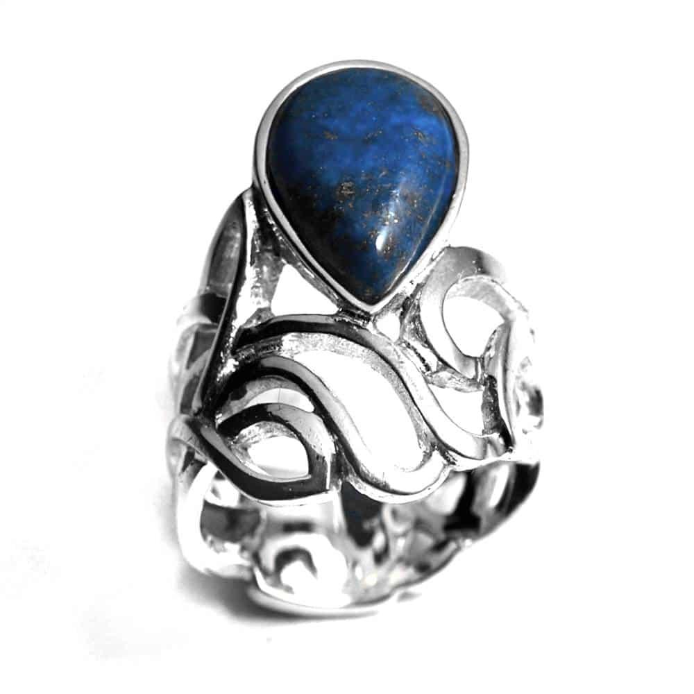 Bague entrelacs et ajours argent et pierre naturelle lapis-lazuli