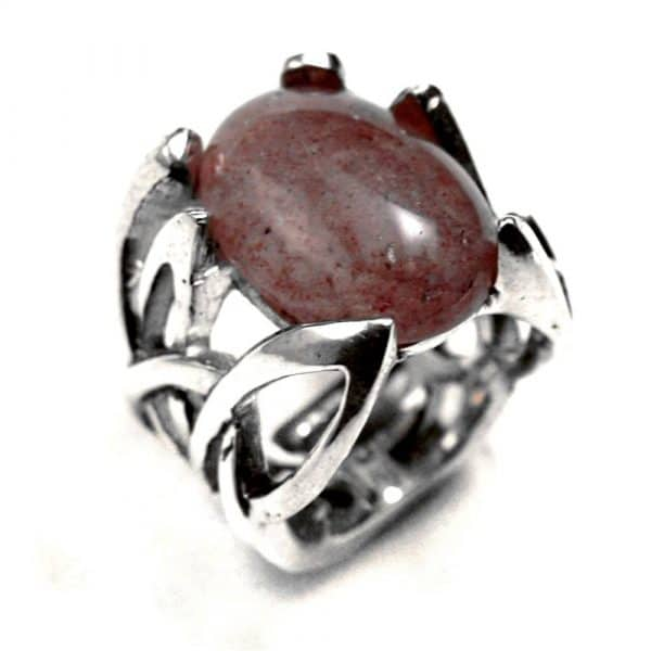 Bague entrelacs pointus argent et pierre naturelle quartz fraise