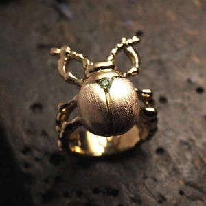 Bague femme bronze plaqué or 24k motif scarabée