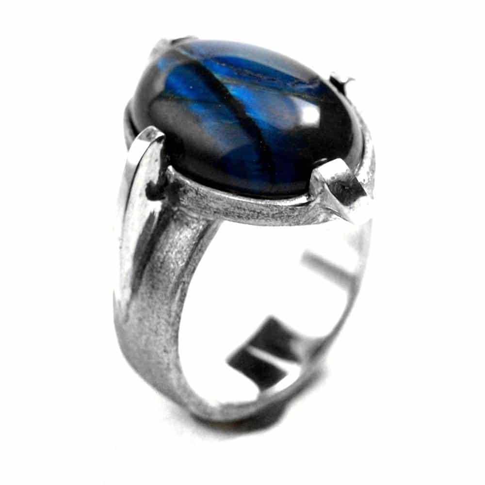 Bague griffes décentrées argent et pierre naturelle oeil de tigre bleue
