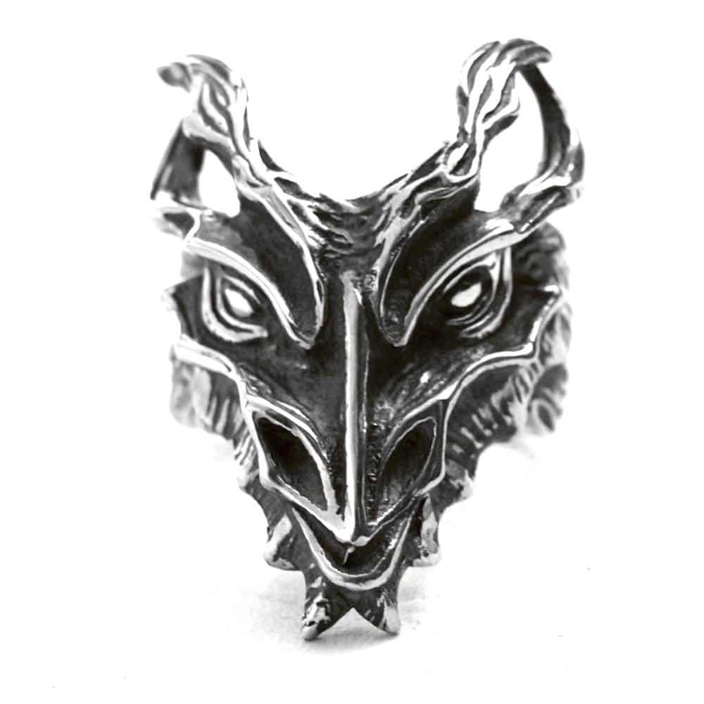 Bague grosse tête de dragon argent