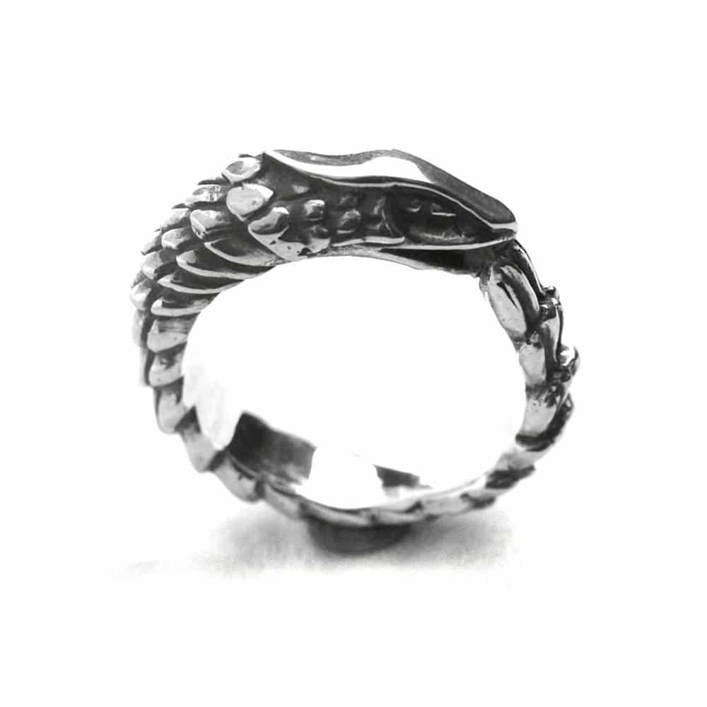 Bague fine ouroboros serpent dragon argent