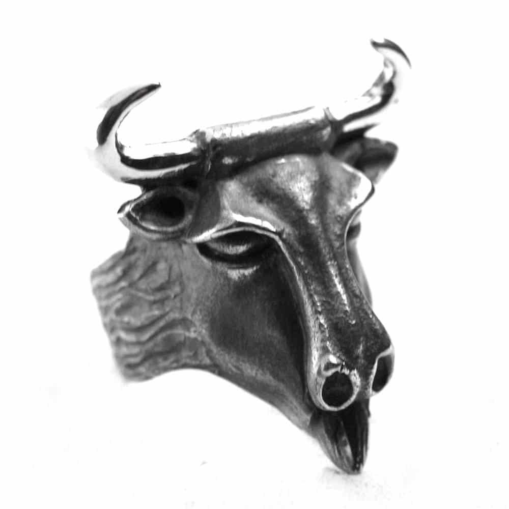 Bague tête de taureau vache argent