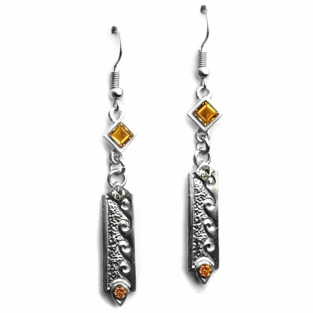 Boucles d'oreilles style ethnique strass couleur ambre