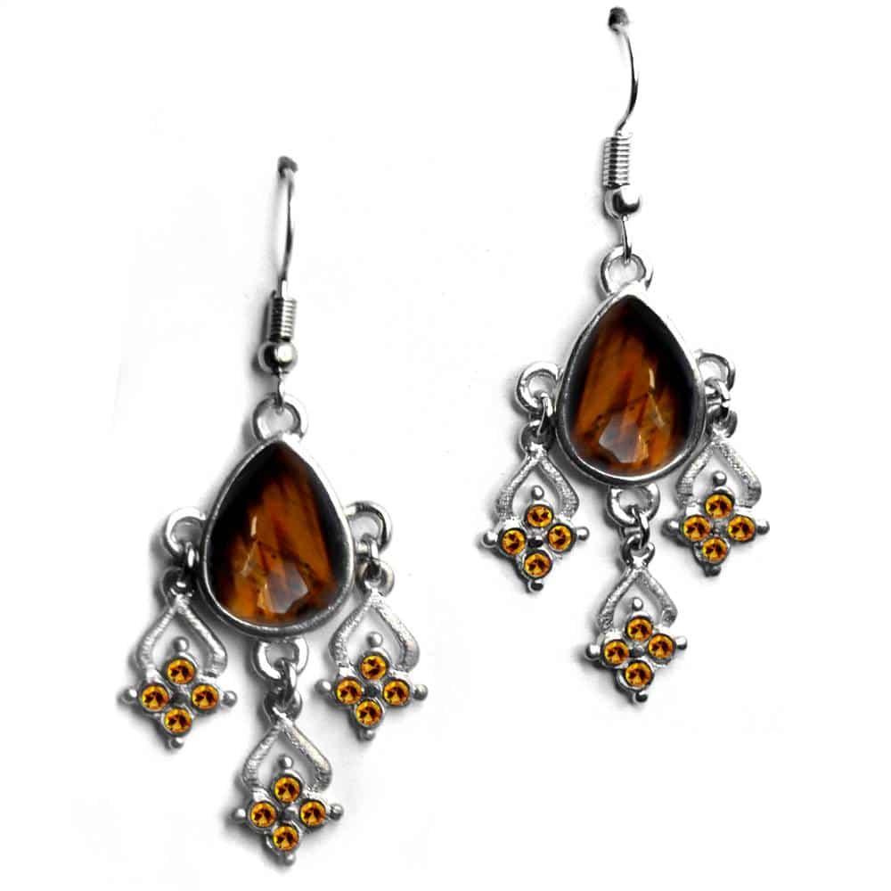Boucles d'oreilles baroques strass et larme pierre naturelle-améthyste