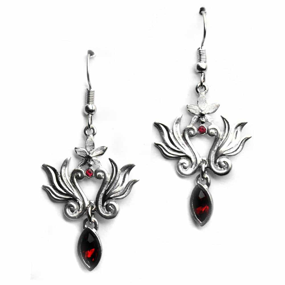 Boucles d'oreilles baroques strass couleur rouge
