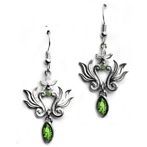 Boucles d'oreilles baroques strass couleur vert