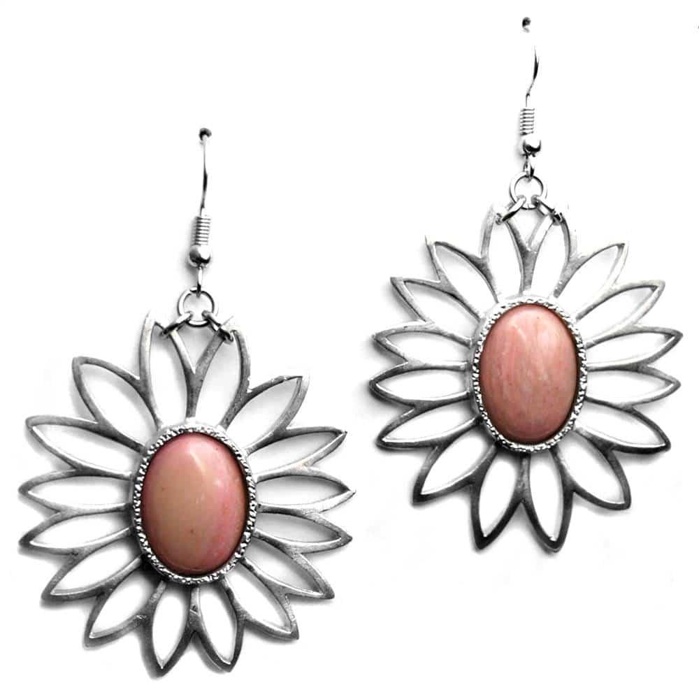 Boucles d'oreilles fleur pierre naturelle jaspe rose