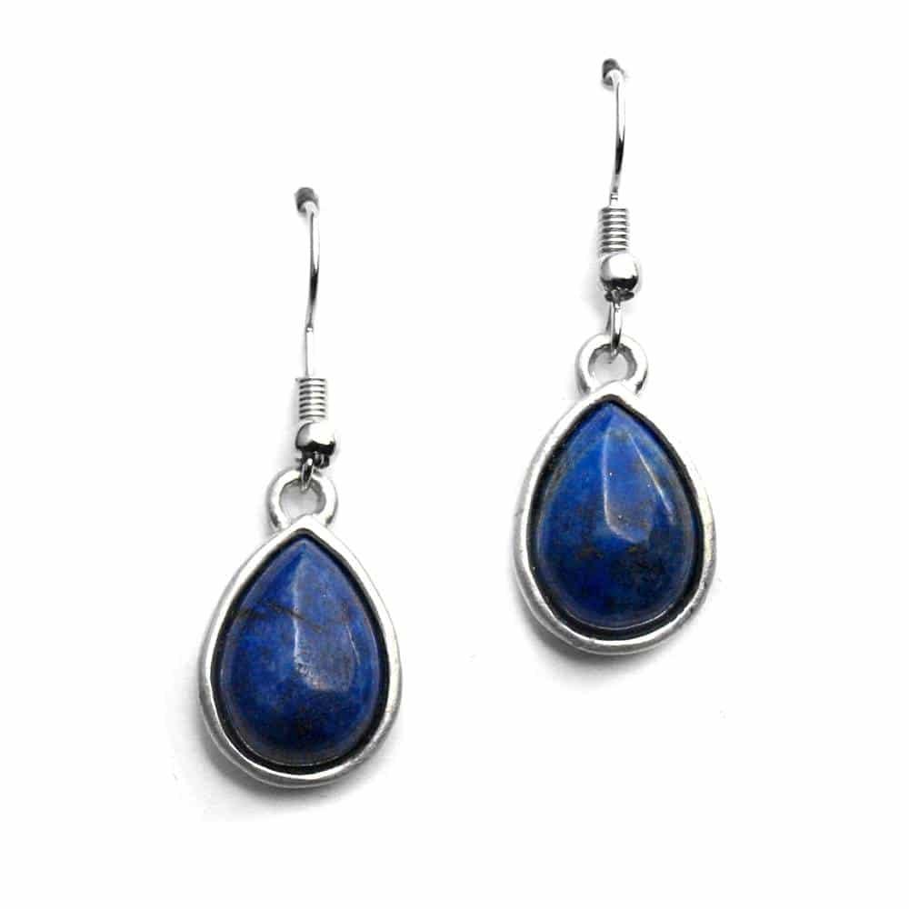 Boucles d'oreilles sertissures larmes pierre naturelle lapis-lazuli