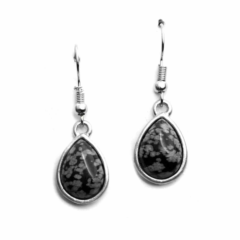 Boucles d'oreilles sertissures larmes pierre naturelle obsidienne snowflake