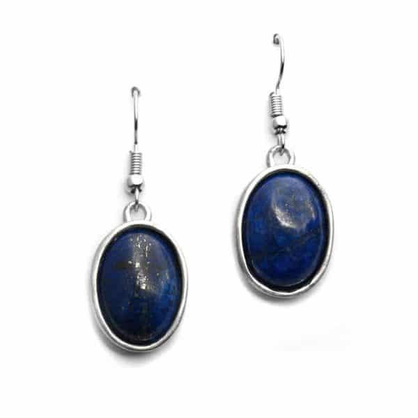 Boucles d'oreilles sertissures ovales pierre naturelle lapis-lazuli