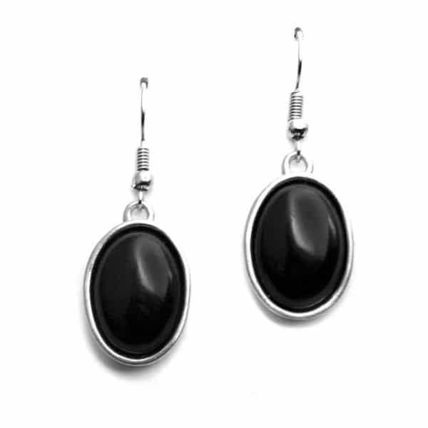 Boucles d'oreilles sertissures ovales pierre naturelle obsidienne noire