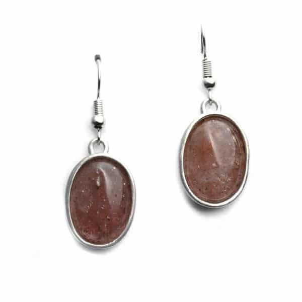 Boucles d'oreilles sertissures ovales pierre naturelle quartz fraise