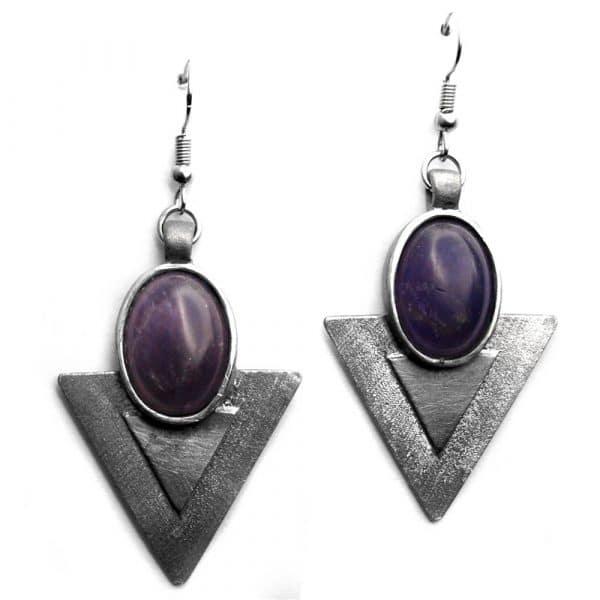 Boucles d'oreilles triangles pierre naturelle ovale améthyste