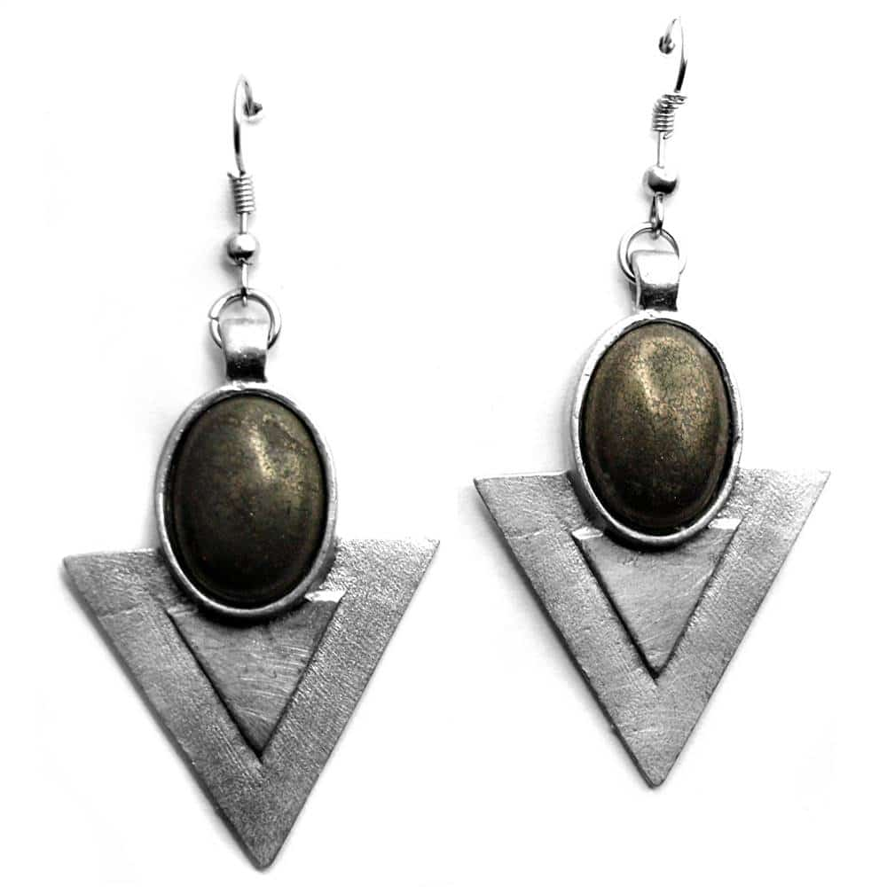 Boucles d'oreilles triangles pierre naturelle ovale pyrite