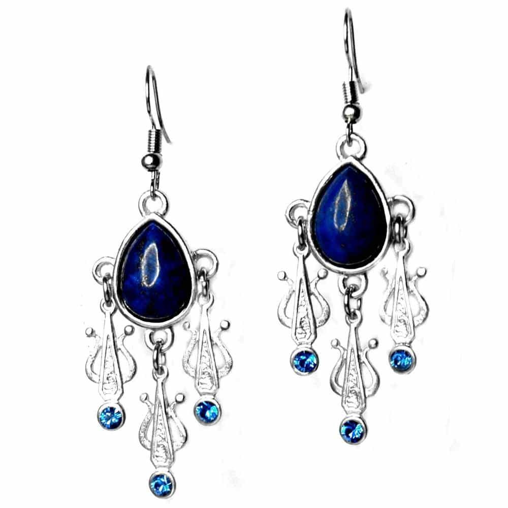 Boucles d'oreilles style ethnique lapis-lazuli strass bleus