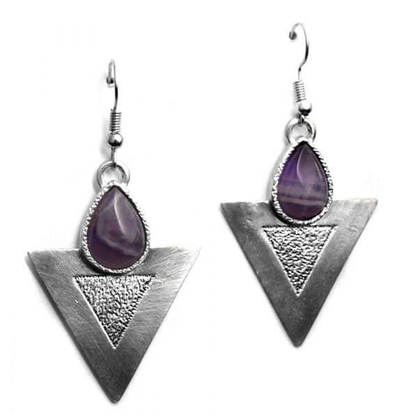 Boucles d'oreilles triangles texture pierre naturelle améthyste