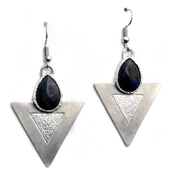 Boucles d'oreilles triangles texture pierre naturelle lapis-lazuli