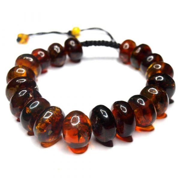 Bracelet ambres naturelles Mexique 19 perles olives 11 à 15mm nuances rouge_AMB_BRA_001_001