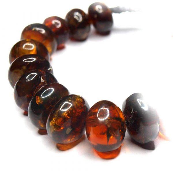 Bracelet ambres naturelles Mexique 19 perles olives 11 à 15mm nuances rouge_AMB_BRA_001_002