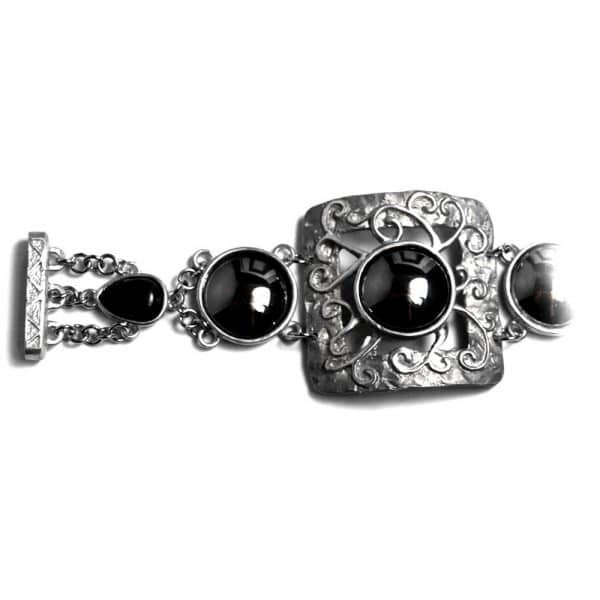 Bracelet baroque rock'n'roll étain brut pierre naturelle hématite