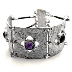 Bracelet demi manchette étain brut pierres naturelles améthyste