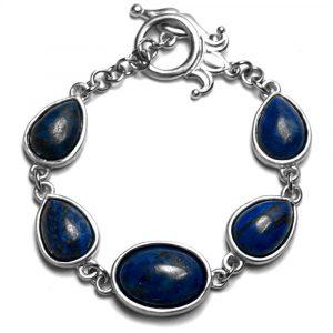 Bracelet étain brossé sertissures pierres naturelles lapis-lazuli