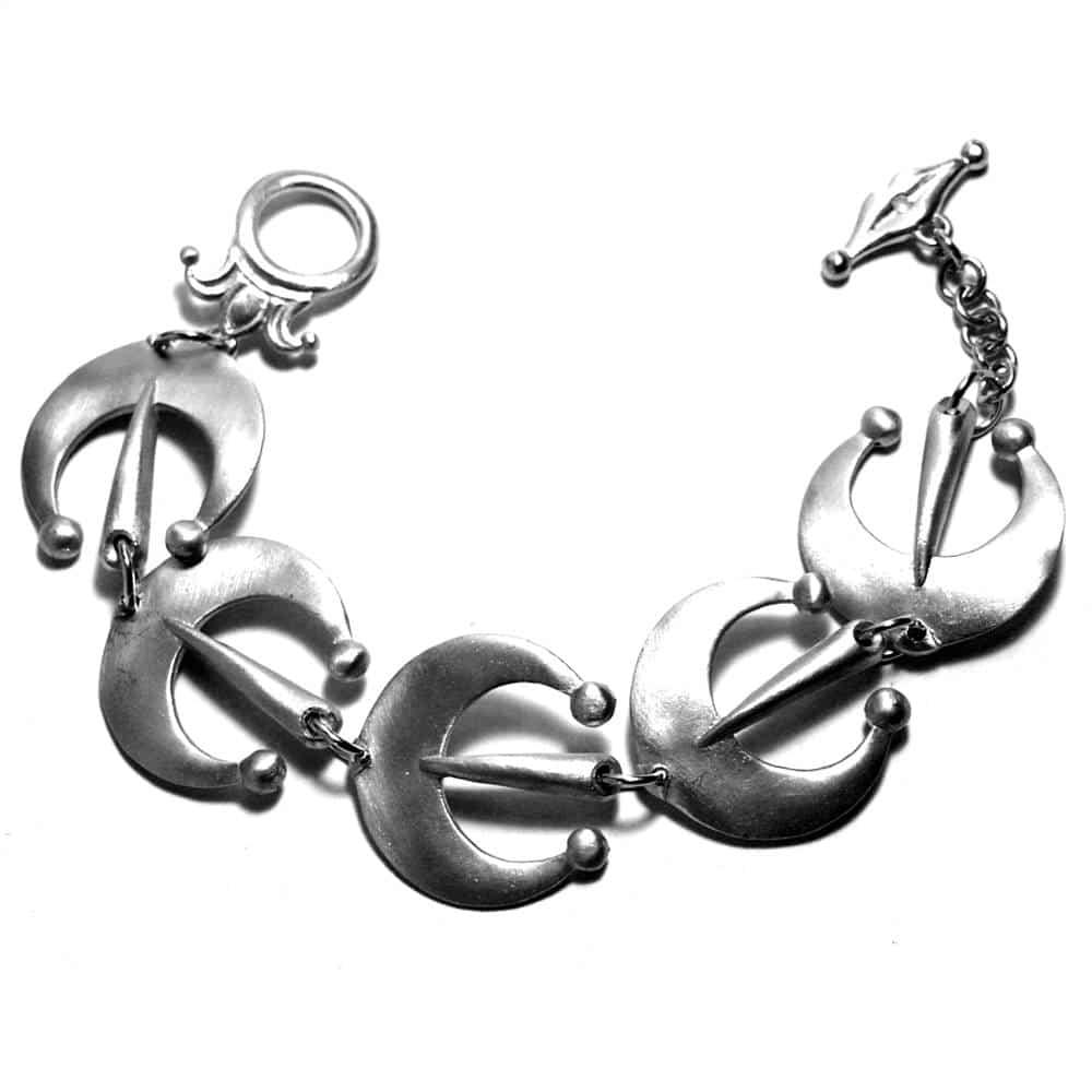 Bracelet fantaisie croissants de lune étain