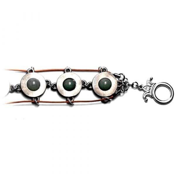 Bracelet fantaisie étain cuir et pierres naturelles aventurine