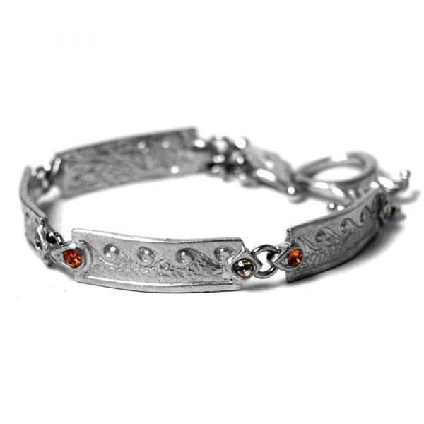 Bracelet fin style ancien étain ciselé strass