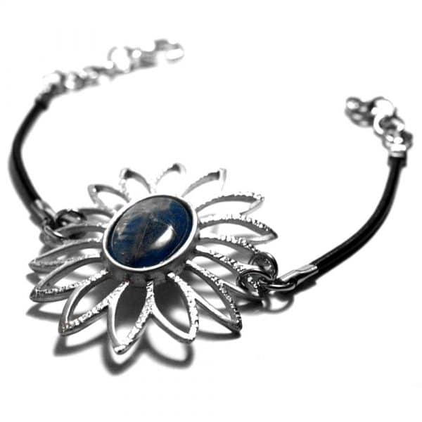 Bracelet fleur ajourée étain pierre naturelle kyanite