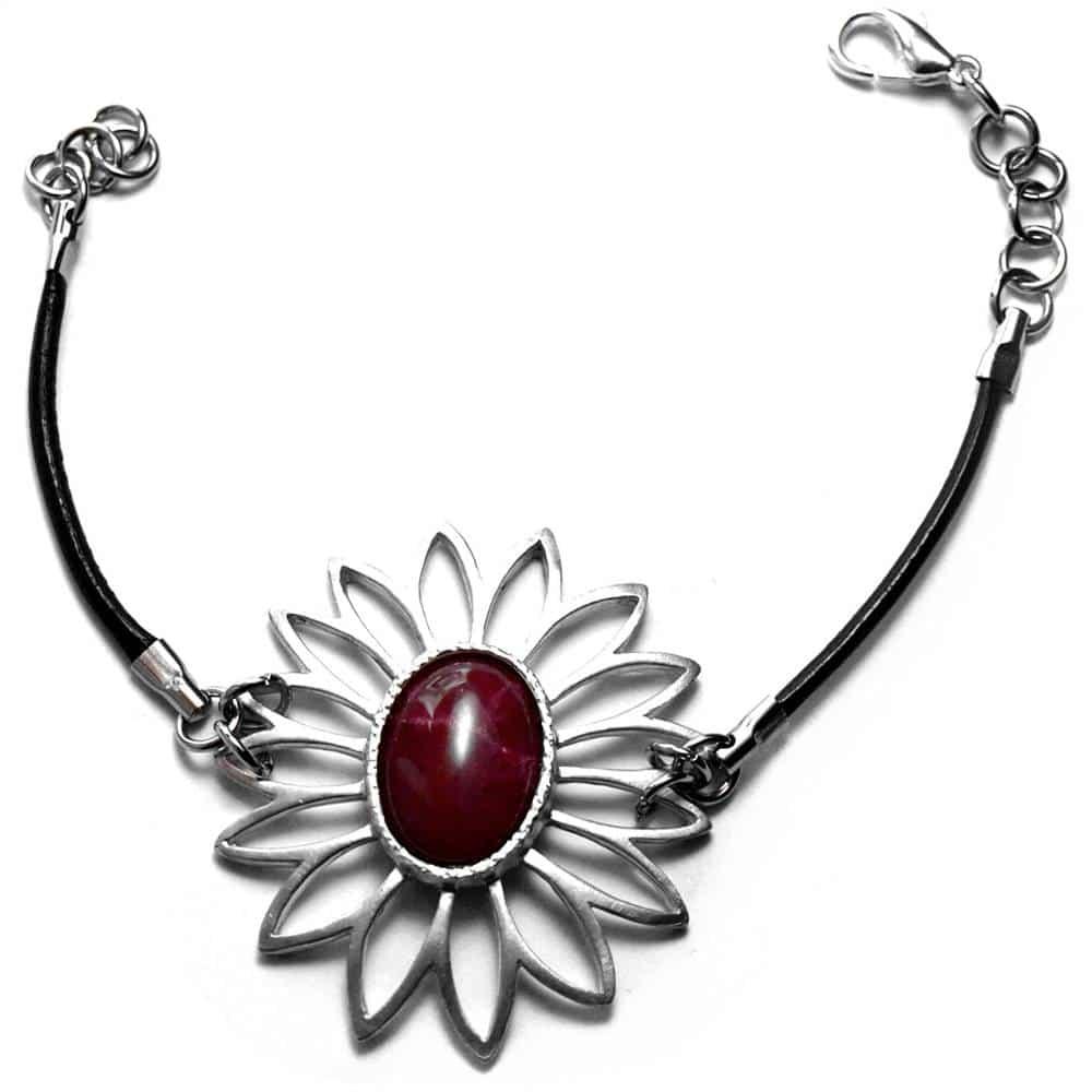 Bracelet fleur ajourée étain pierre naturelle opale teintée violette