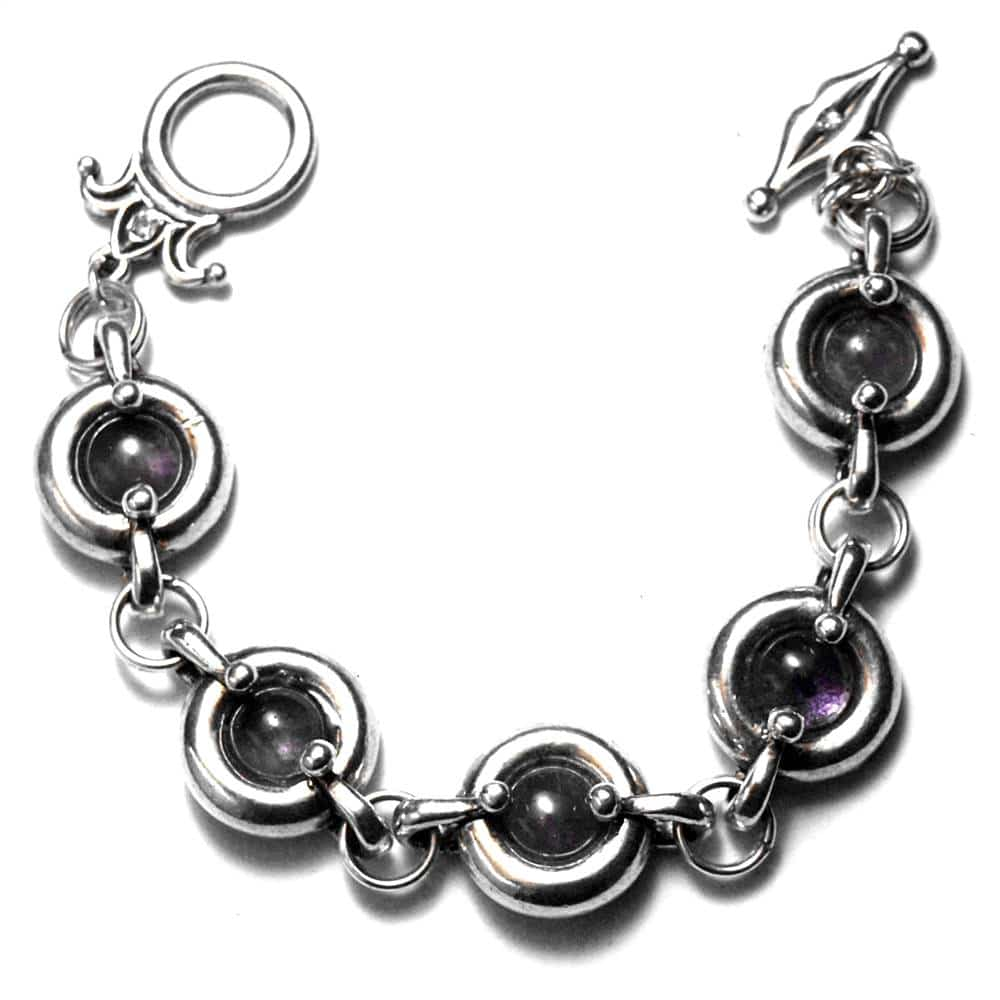 Bracelet motifs ronds étain brut poli pierre naturelle améthyste