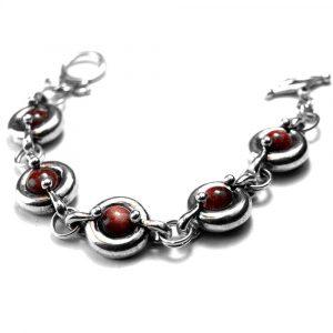 Bracelet motifs ronds étain brut poli pierre naturelle pierre de soleil