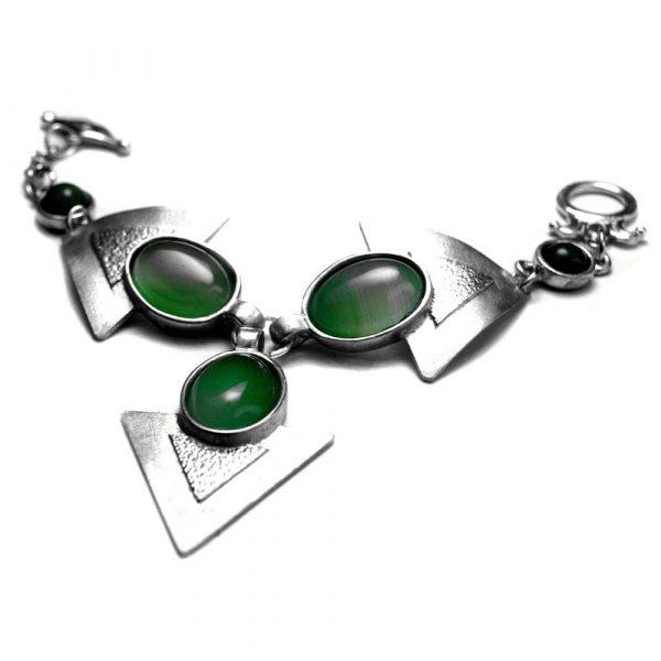 Bracelet parure de main triangles étain brossé pierres naturelles agate verte