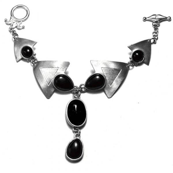 Bracelet parure de main triangles sertissures étain brossé pierres naturelles obsidiennes